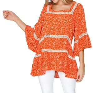 Free People Talk About It Tunic Top Pop Orange NWT